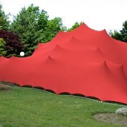 red stretch tents