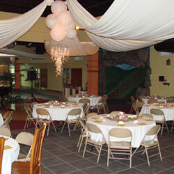 tents with decor and chairs