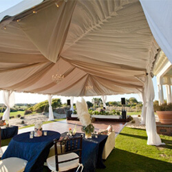 peg and pole tents for sale with decor, chairs and tables